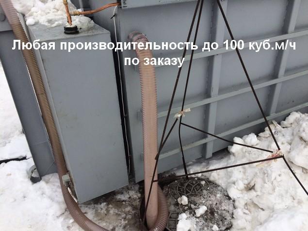 Стационарное размещение паро-водяной снегоплавильной установки с присоединением к трубопроводу с теплоносителем