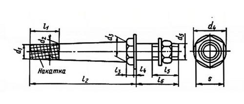 штырь для крепления изолятора на накладках и траверсах промежуточных опор