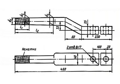 верхушечный штырь для крепления изолятора верхнего высоковольтного провода